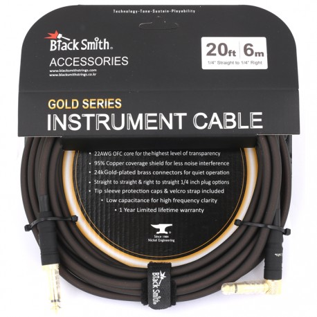 CABLE GUITARE BLACK SMITH 6M JACK JACK C
